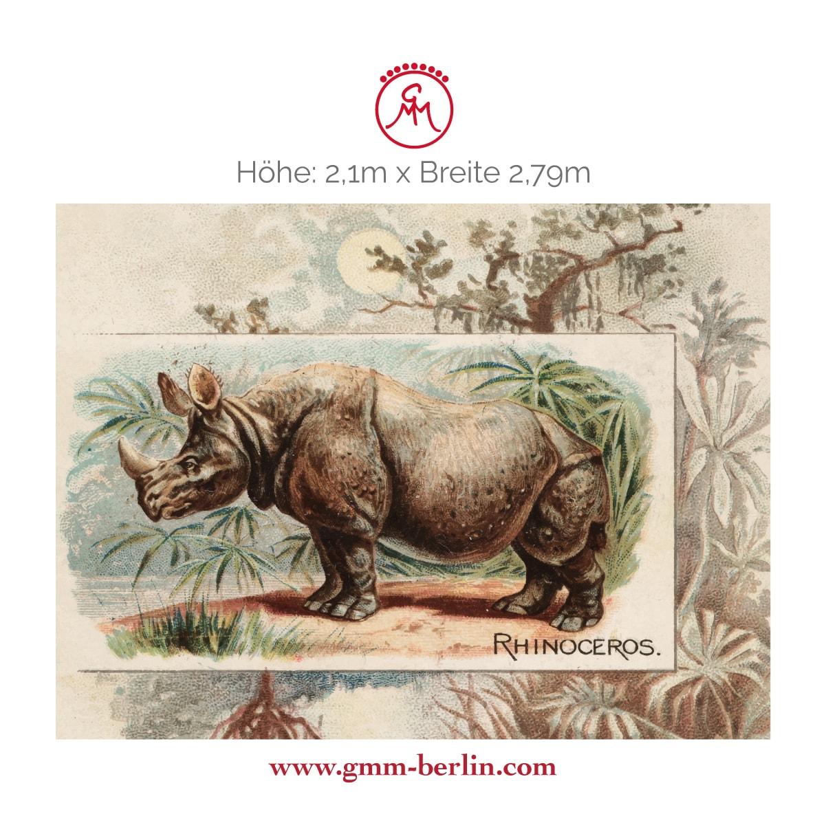 "Exkusive Panoramatapete: Sammler Kunst Tapete ""das Nashorn"" nach der Quadruped Serie 1890"
