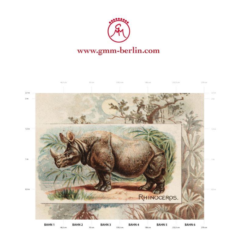 "Große Panoramatapete: Sammler Kunst Tapete ""das Nashorn"" nach der Quadruped Serie 1890"
