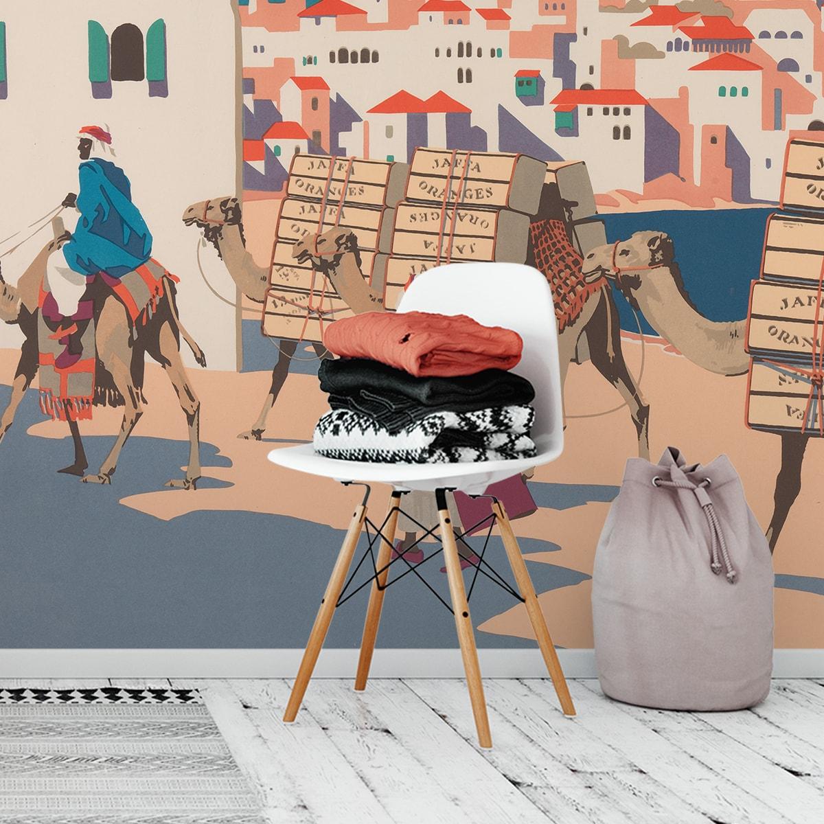 """Tapete mit Kunstwerk """"Die Orangen von Jaffa"""" nach Frank Newbould"""