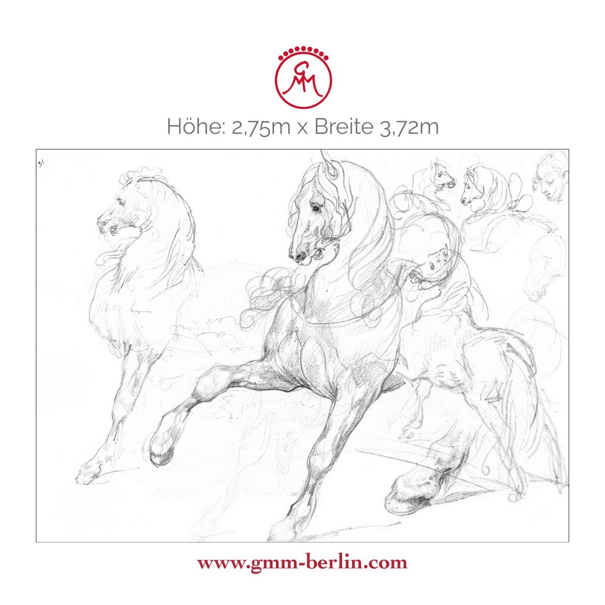 """Exkusive Panoramatapete: Feine Kunsttapete """"Pferde Studien"""" nach Théodore Géricault"""