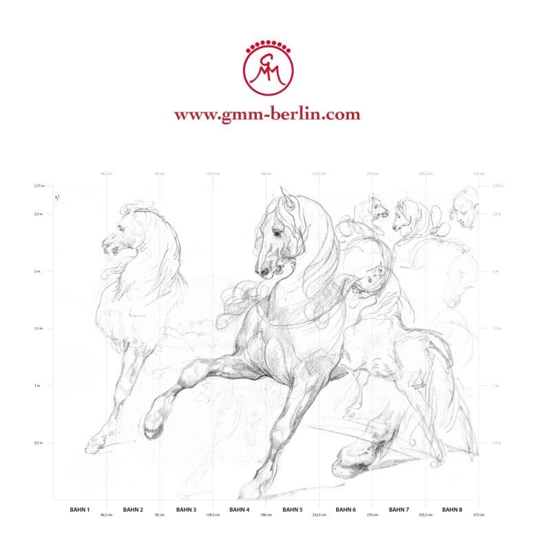 """Große Panorama Tapete: Feine Kunsttapete """"Pferde Studien"""" nach Théodore Géricault"""