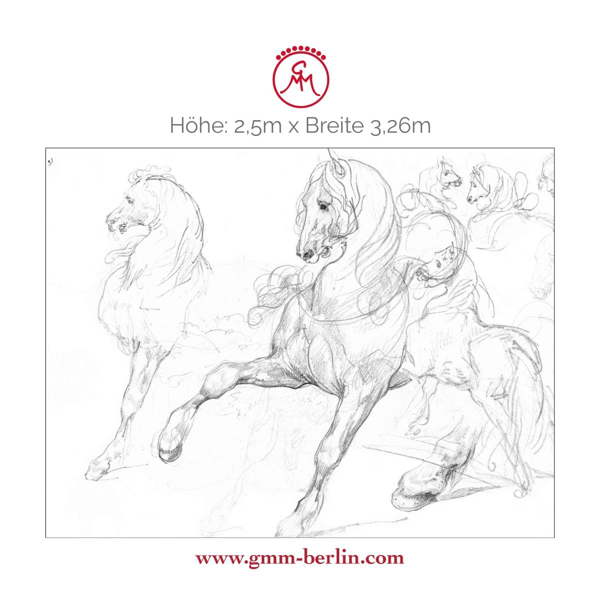 """Dekoratives Wandbild: Feine Kunsttapete """"Pferde Studien"""" nach Théodore Géricault"""