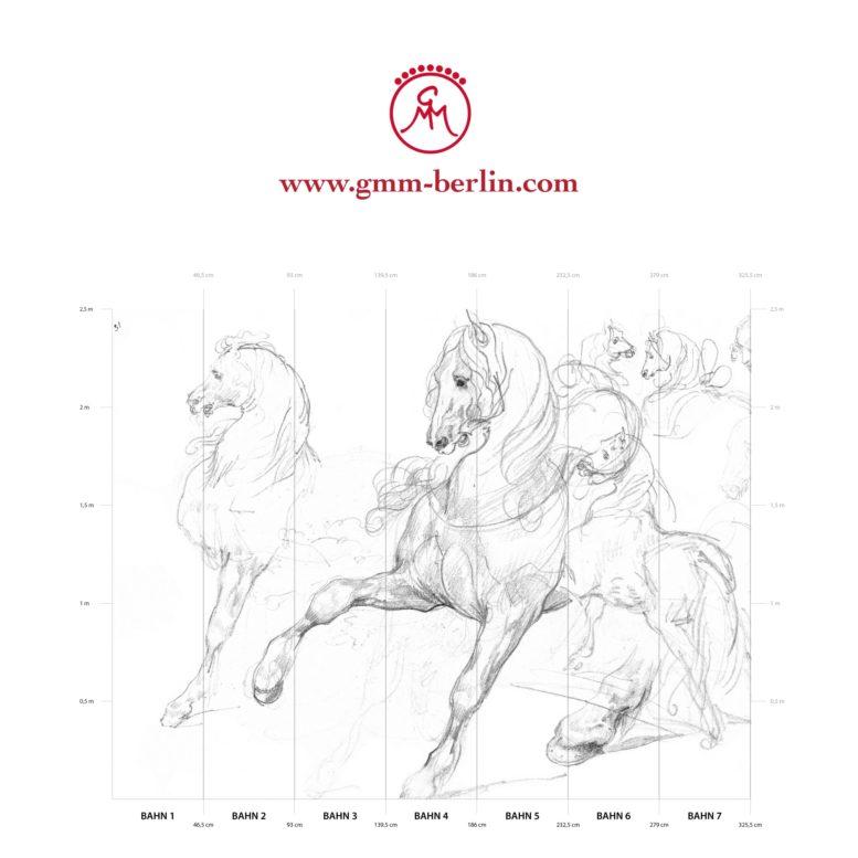 """Großes Panorama Wandbild: Feine Kunsttapete """"Pferde Studien"""" nach Théodore Géricault"""