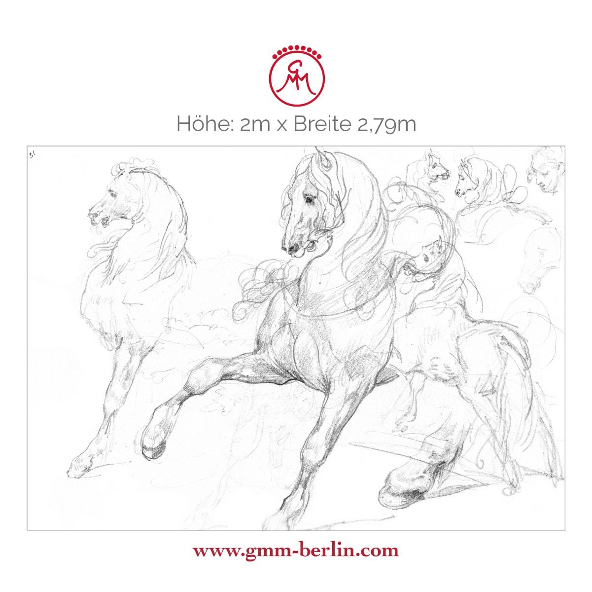 """Dekoratives Reiter Wandbild: Feine Kunsttapete """"Pferde Studien"""" nach Théodore Géricault"""