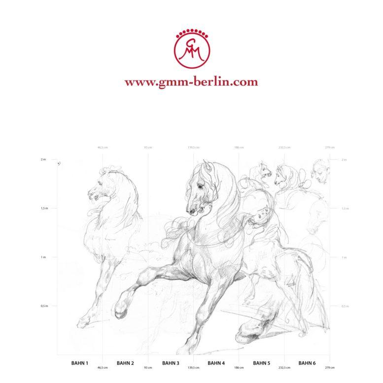 """Großes Tier Wandbild: Feine Kunsttapete """"Pferde Studien"""" nach Théodore Géricault"""