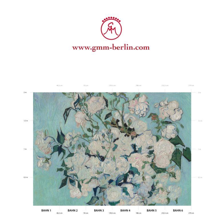 """Große Panorama Tapete: Florale Kunst Tapete """"Die Rosen"""" nach Vincent Van Gogh"""
