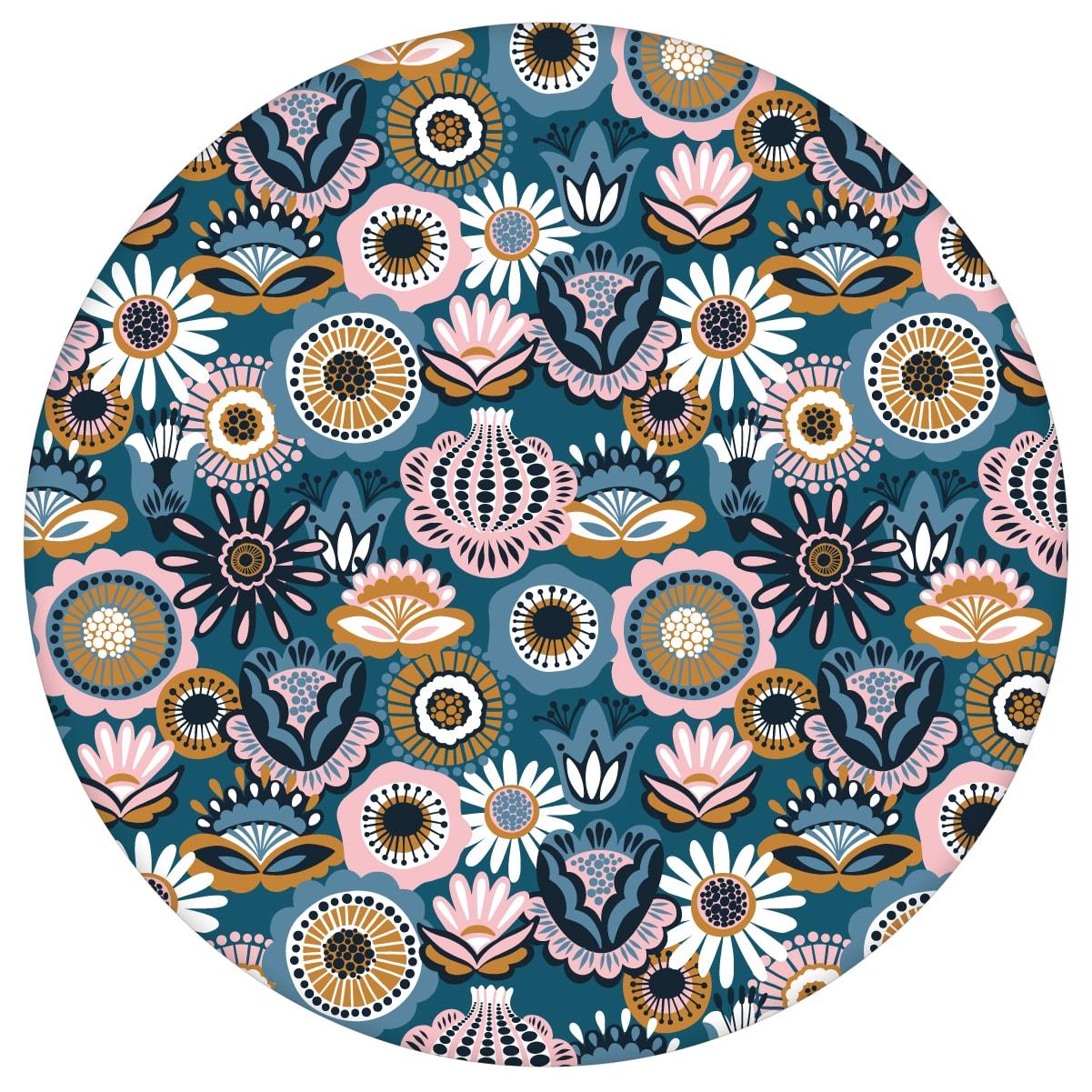 """Florale Tapete """"Bauerngarten"""" Blüten im Folklore Stil, petrol blaue Vlies-Tapete für Wohnzimmeraus dem GMM-BERLIN.com Sortiment: blaue Tapete zur Raumgestaltung: #00130 #Bauerngarten #Blaue Tapete #blueten #blumen #Blumentapete #Folklore #garten #petrol #Wohnzimmer für individuelles Interiordesign"""