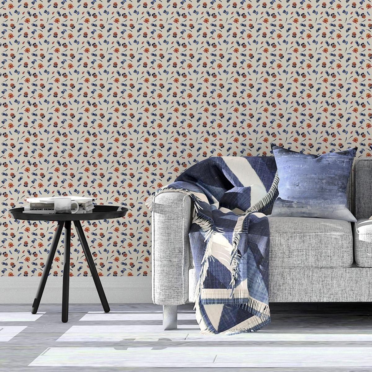 Tapete Wohnzimmer gelb: Exotische Streublümchen Tapete mit kleinen Blüten, bunte Vlies-Tapete Blumen, folklore Wanddeko für Wohnzimmer