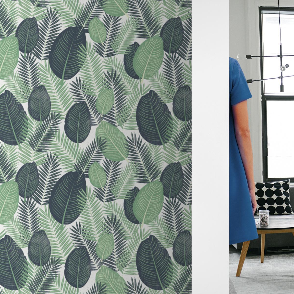 Küchentapete creme: Üppige Dschungel Tapete mit großen Blättern, grün weiße Vlies Tapete, exotische moderne Wanddeko für Küche