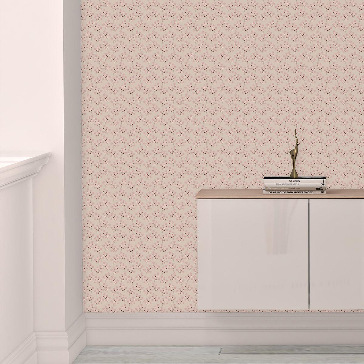 """Tapete für Büroräume pink: Zarte Tapete """"Kohana"""" mit kleinen Blüten, rosa Vlies Tapete Blumen, delikate, leichte Blumentapete für Flur, Büro"""