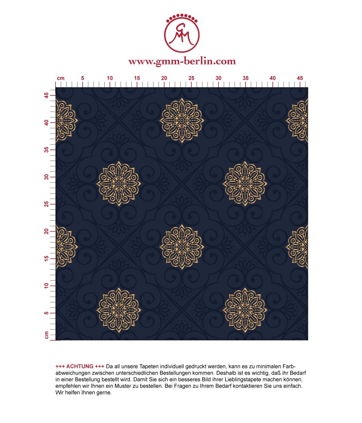 """Exklusive oriental Tapete """"Mandarin"""", dunkel blaue Vlies-Tapete, elegante Ornamenttapete für Schlafzimmer  2"""