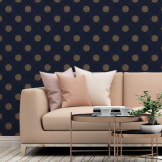 """Schlafzimmer tapezieren in mittelblau: Exklusive oriental Tapete """"Mandarin"""", dunkel blaue Vlies-Tapete, elegante Ornamenttapete für Schlafzimmer"""
