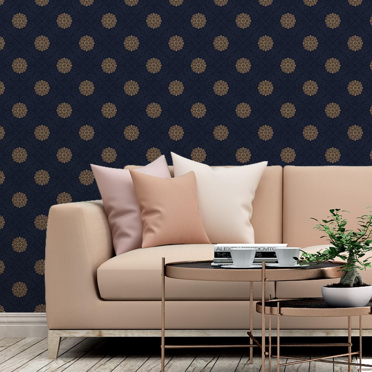 """Exklusive oriental Tapete """"Mandarin"""", dunkel blaue Vlies-Tapete, elegante Ornamenttapete für Schlafzimmer  3"""