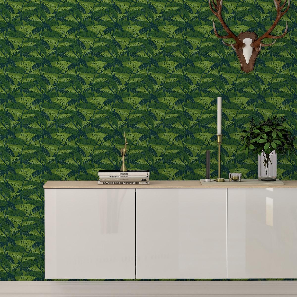 """Tapete für Büroräume grün: Moderne Tapete """"Wild Bananas"""" mit Blättern, grüne Vlies Tapete üppige Blumentapete für Flur, Büro"""