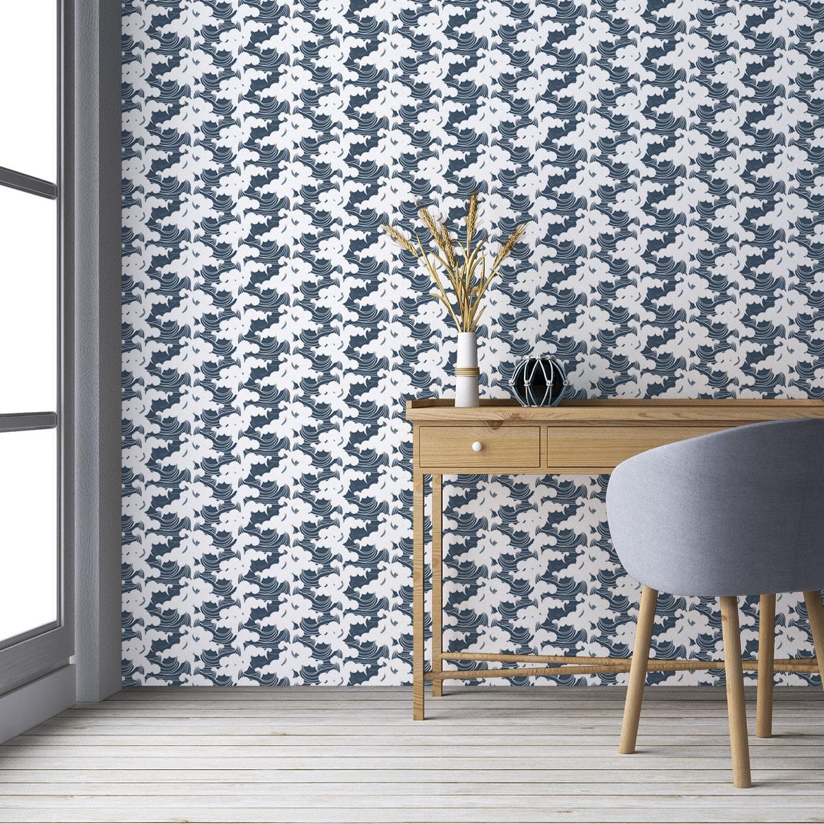 """Küchentapete mittelblau: Maritime Wellen Tapete """"Meerschaum"""", blaue Vlies Tapete grafische Wanddeko für Küche"""