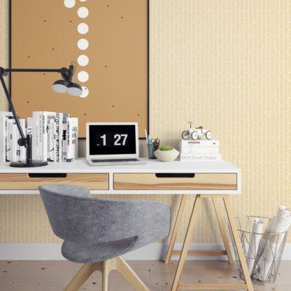 """Schlafzimmer tapezieren in gelb: Natur Tapete """"Bamboo Garden"""" mit grafischem Bambus, vanille gelbe Vlies-Tapete für Schlafzimmer"""