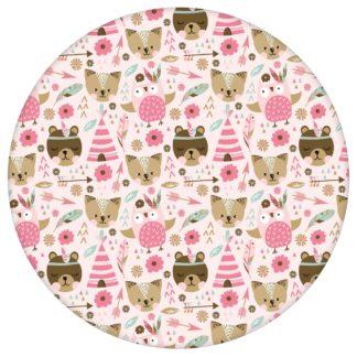 """Lustige Abenteuer Kinderzimmer Tapete """"Wildwest Tiere"""", rosa braune Vlies Tapete Kinder, Kindertapete für Babyzimmer"""