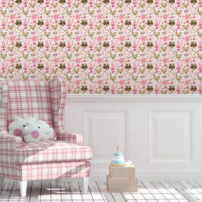 """Kindertapete pink: Lustige Abenteuer Kinderzimmer Tapete """"Wildwest Tiere"""", rosa braune Vlies Tapete Kinder, Kindertapete für Babyzimmer"""