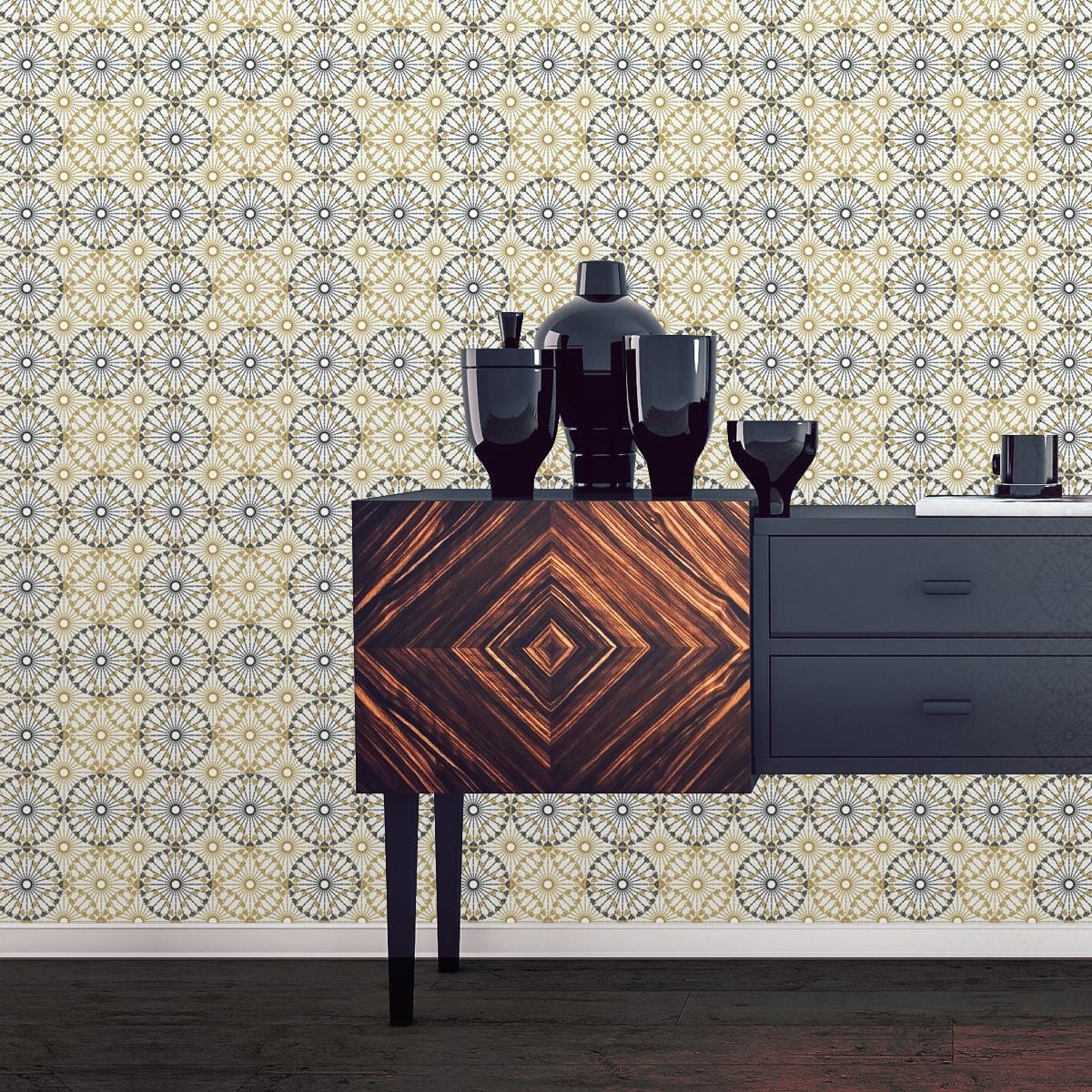 Schlafzimmer tapezieren in creme: Moderne Tapete