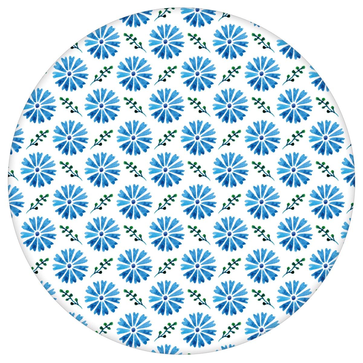 """Klassische Tapete """"Blümchen Glück"""" mit Aquarell Look, blaue Vlies Tapete Blumentapete für Flur, Büro  3"""
