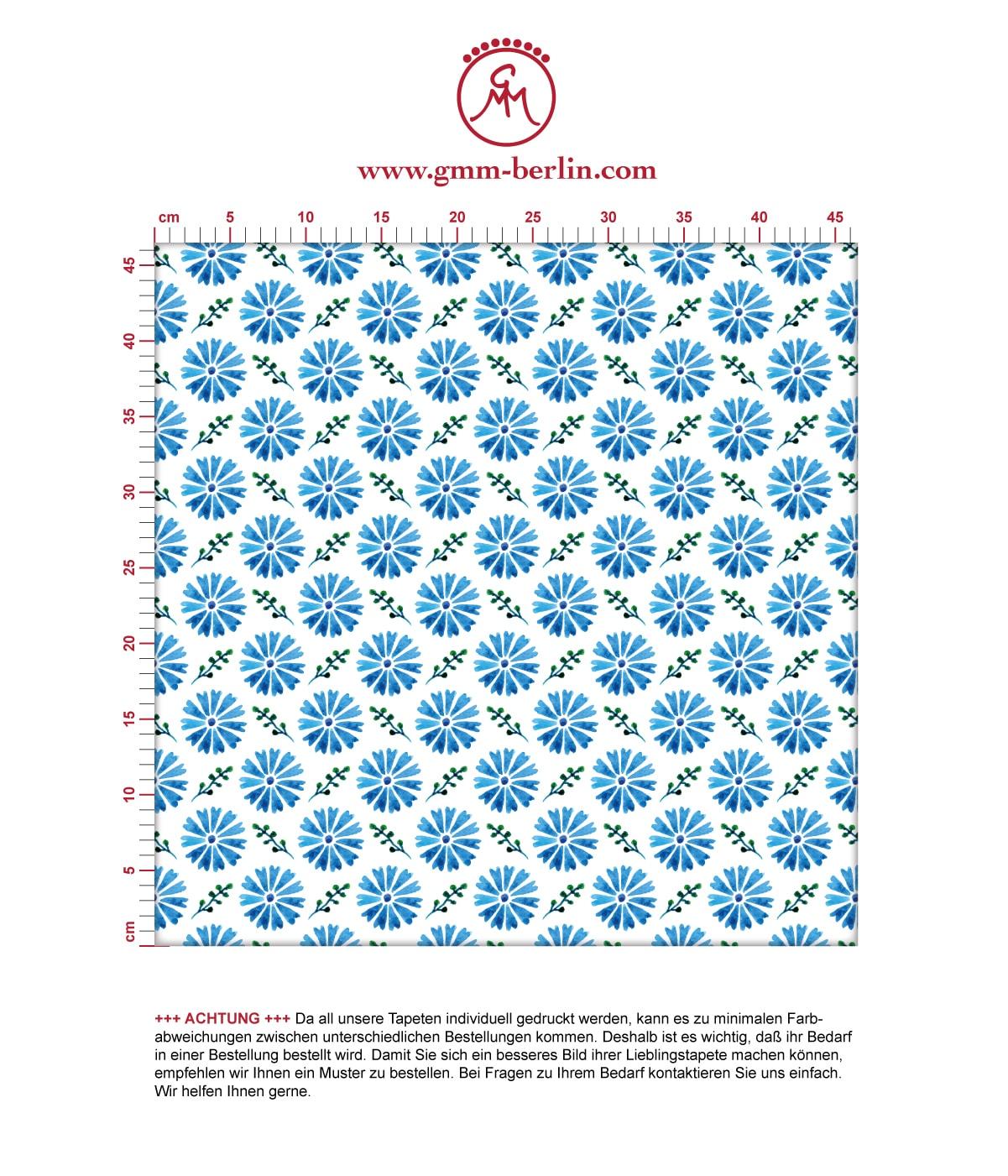 """Klassische Tapete """"Blümchen Glück"""" mit Aquarell Look, blaue Vlies Tapete Blumentapete für Flur, Büro  2"""