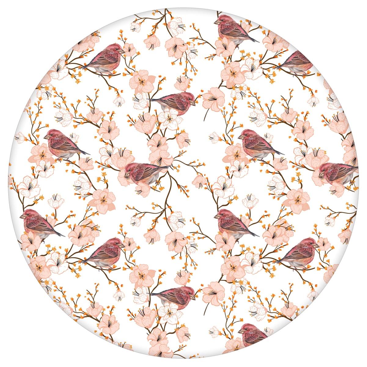 """Luftige Frühlings Tapete """"Kirschblüten Spatz"""" mit Vögeln, weiß rosa Vlies-Tapete Blumen Tiere für Schlafzimmeraus dem GMM-BERLIN.com Sortiment: rosa Tapete zur Raumgestaltung: #00171 #blueten #blumen #Blumentapete #fruehling #Kirschblüte #rosa #rosa Tapeten #schlafzimmer #Spatz #voegel #weiss #weisse Tapeten für individuelles Interiordesign"""