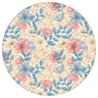 """Zarte Tapete """"Hibiskus Garten"""" mit üppigen Blüten, blau rosa Vlies Tapete Blumentapete für Flur, Büro aus den Tapeten Neuheiten Blumentapeten und Borten als Naturaltouch Luxus Vliestapete oder Basic Vliestapete"""