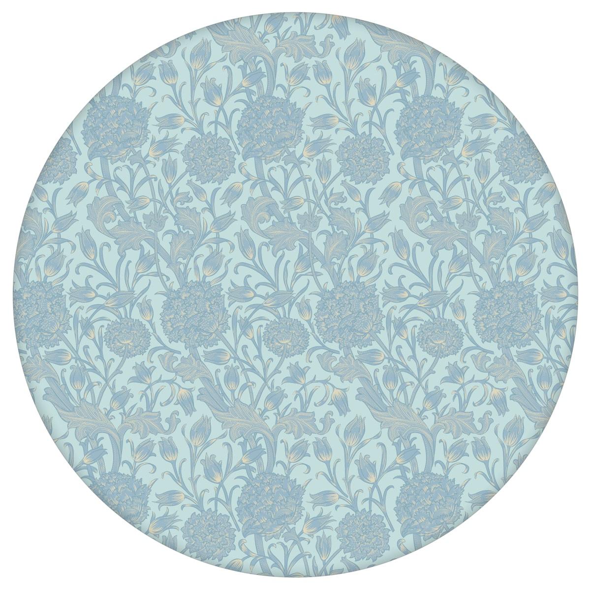 """Hellblaue Jugendstil Tapete """"Tulpen und Narzissen"""" nach William Morris, Vlies-Tapete Blumentapete für Schlafzimmer aus den Tapeten Neuheiten Blumentapeten und Borten als Naturaltouch Luxus Vliestapete oder Basic Vliestapete"""