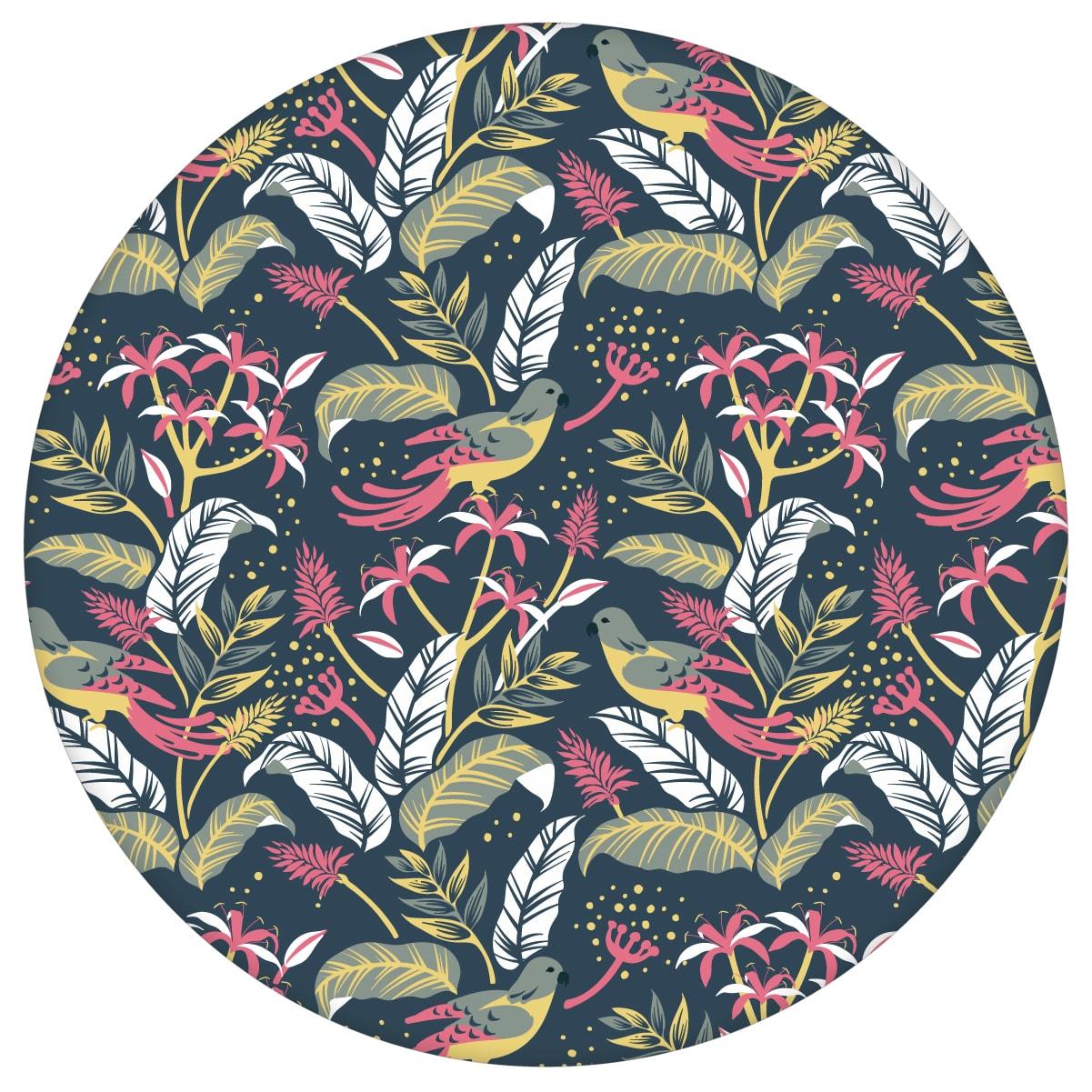 """Tropische Tapete """"Wild Birds"""" mit Dschungel Vögeln, petrol blaue Vlies-Tapete Wohnakzent für Wohnzimmeraus dem GMM-BERLIN.com Sortiment: blaue Tapete zur Raumgestaltung: #00175 #Blätter #Blaue Tapete #dschungel #Papagei #petrol #Tier Tapete #tiere #tropisch #voegel #Wohnzimmer für individuelles Interiordesign"""