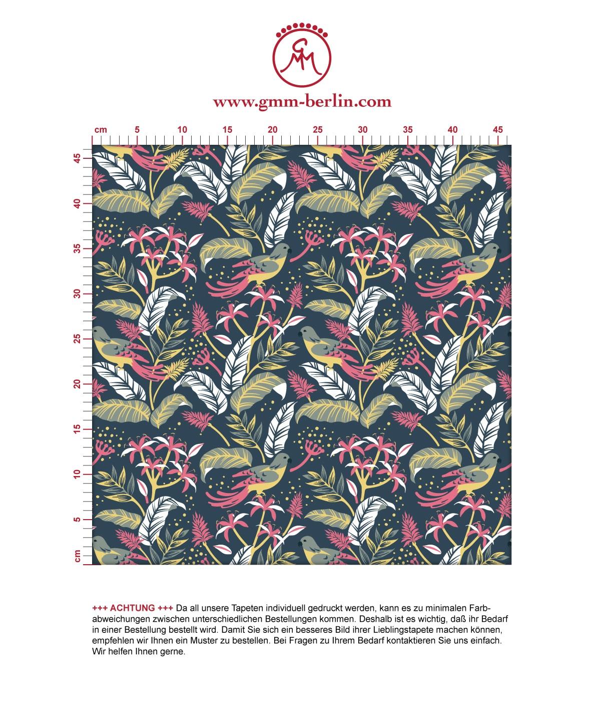 """Tropische Tapete """"Wild Birds"""" mit Dschungel Vögeln, petrol blaue Vlies-Tapete Wohnakzent für Wohnzimmer 2"""