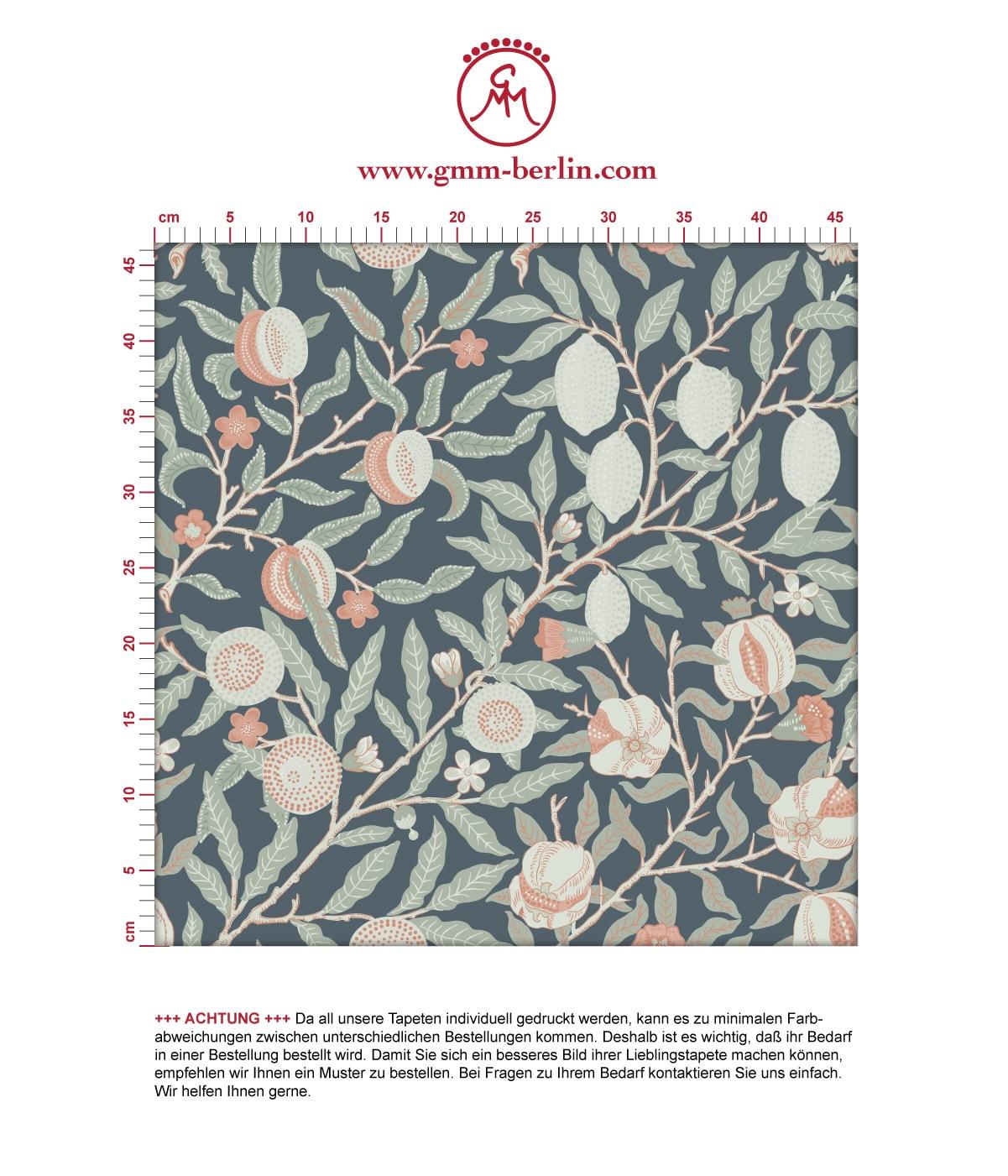 Jugendstil Tapete Granatapfel Baum nach William aus der Tapeten Design Familie: 00178 als Naturaltouch Luxus Vliestapete oder Basic Vliestapete
