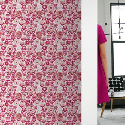 """Nostalgie Blüten Tapet """"Fiore della nostalgia"""", rosa Vlies-Tapete Blumen, folklore Wanddeko für Schlafzimmer"""