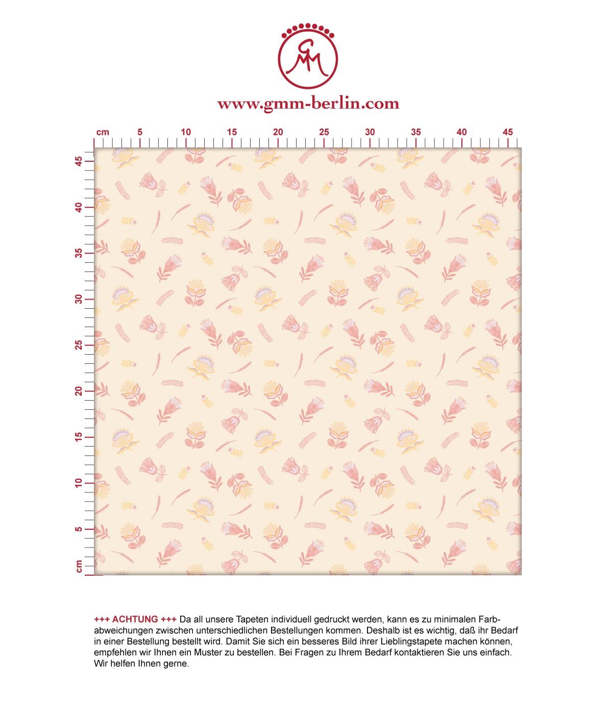 Streublümchen Tapete mit kleinen Blüten, vanille gelbe Vlies Tapete folklore Blumentapete für Küche. Aus dem GMM-BERLIN.com Sortiment: Schöne Tapeten in der Farbe: gelb