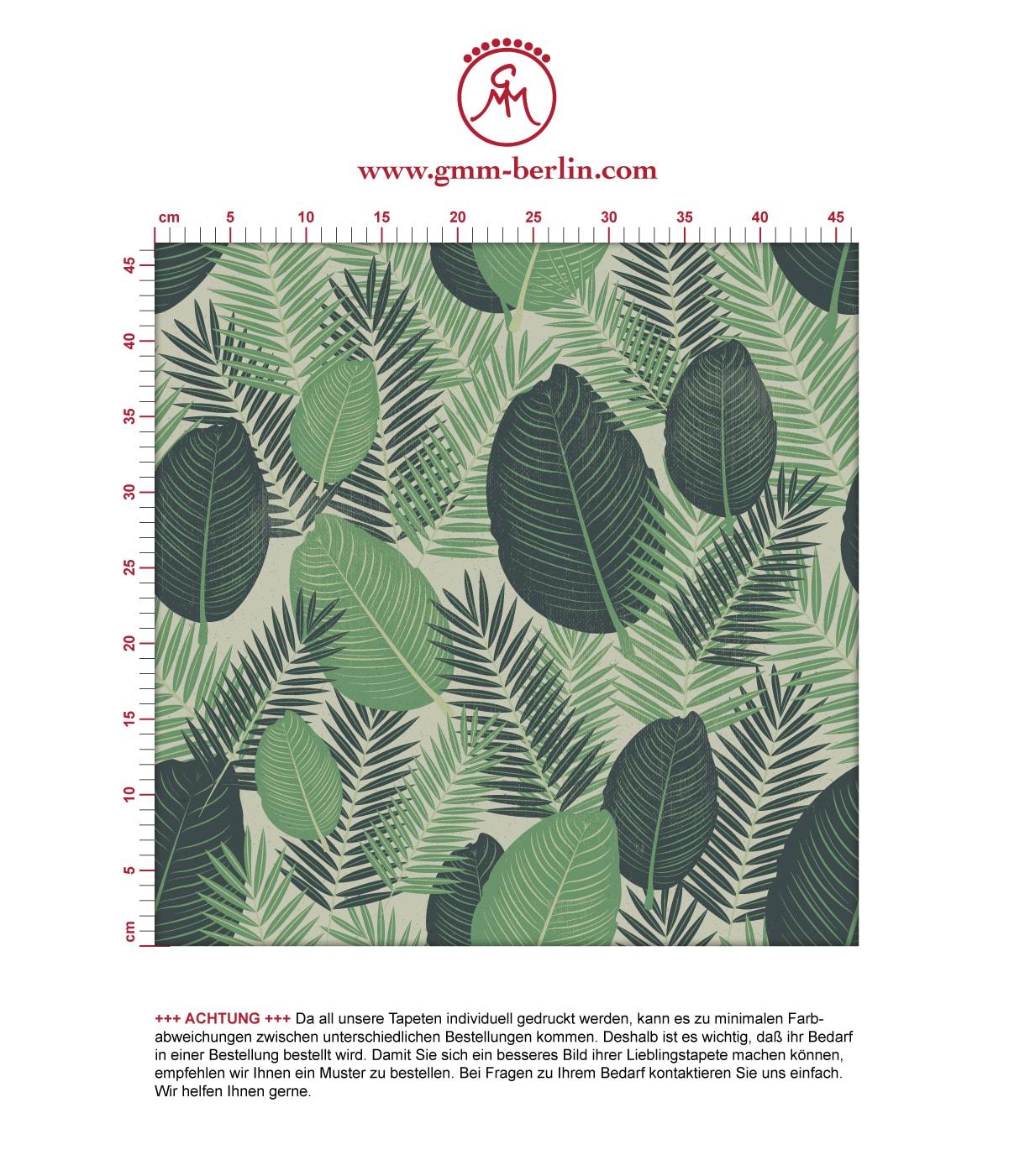 Grüne Dschungel Tapete mit großen Blättern, exotische Vlies-Tapete Natur, moderner Wohnakzent für Schlafzimmer. Aus dem GMM-BERLIN.com Sortiment: Schöne Tapeten in der Farbe: grün