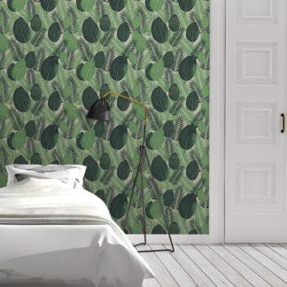 Schlafzimmer tapezieren in grün: Grüne Dschungel Tapete mit großen Blättern, exotische Vlies-Tapete Natur, moderner Wohnakzent für Schlafzimmer