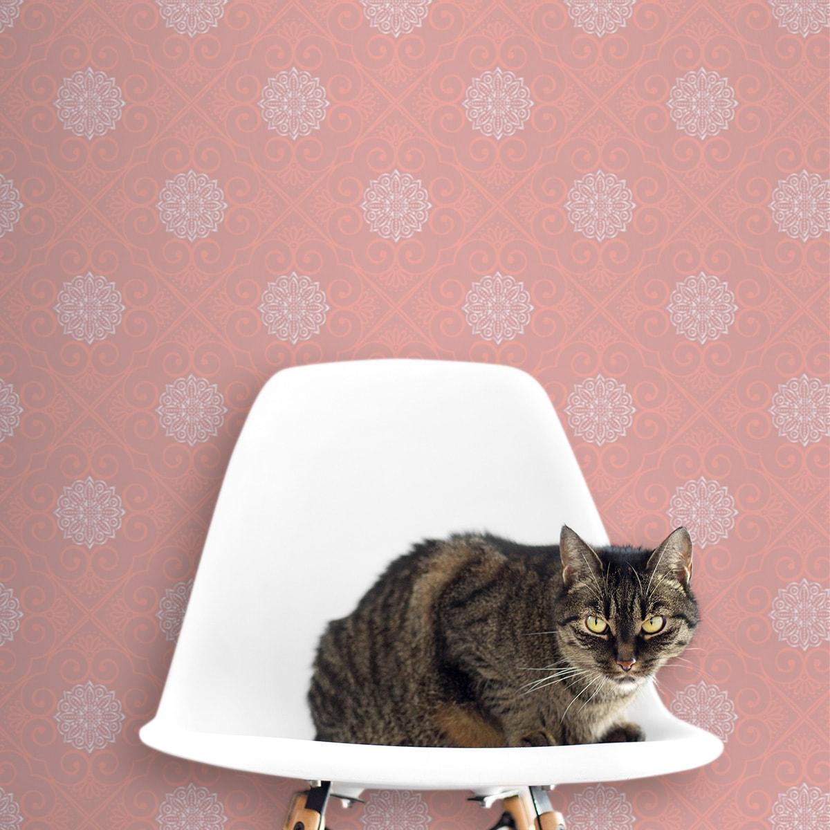 """Tapete für Büroräume pink: Oriental Tapete """"Mandarin"""", rosa Vlies Tapete exklusive Ornamenttapete für Flur, Büro"""