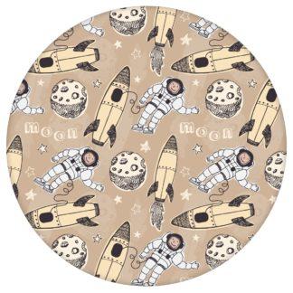 """Gelbe Weltraum Kinderzimmer Tapete """"Rocket Moon"""", Vlies Kindertapete für Babyzimmeraus dem GMM-BERLIN.com Sortiment: gelbe Tapete zur Raumgestaltung: #00136 #Babyzimmer #gelb #gelbe Tapeten #kinder #Kindertapete #Mond #Rakete #Space #Weltraum für individuelles Interiordesign"""