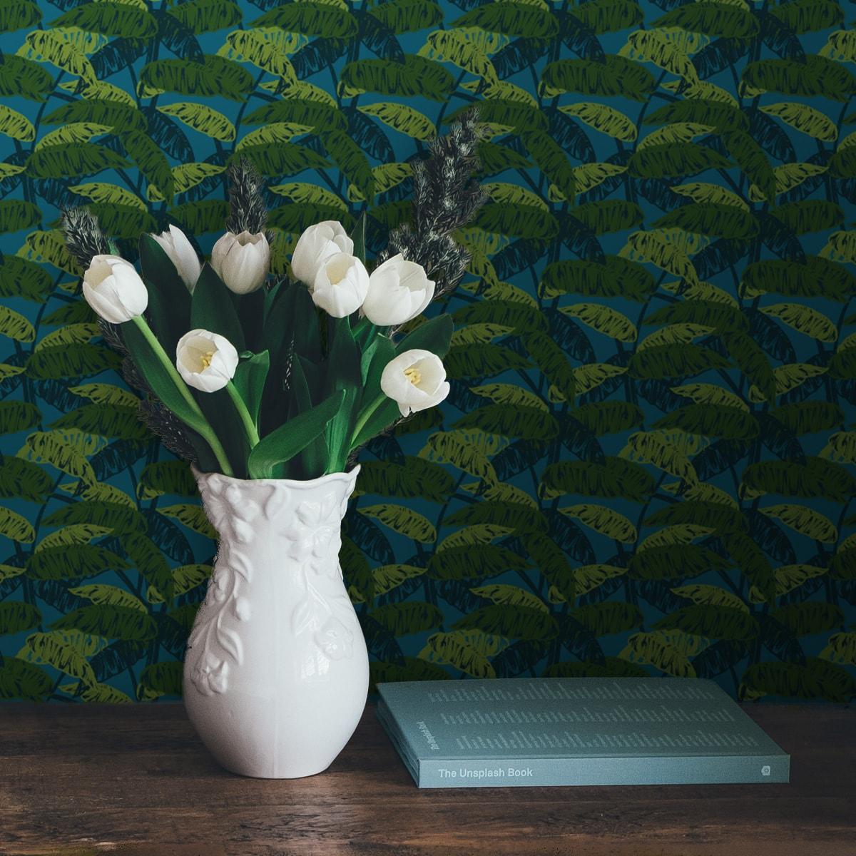 Schlafzimmer tapezieren in mittelblau: Petrol blaue Tapete
