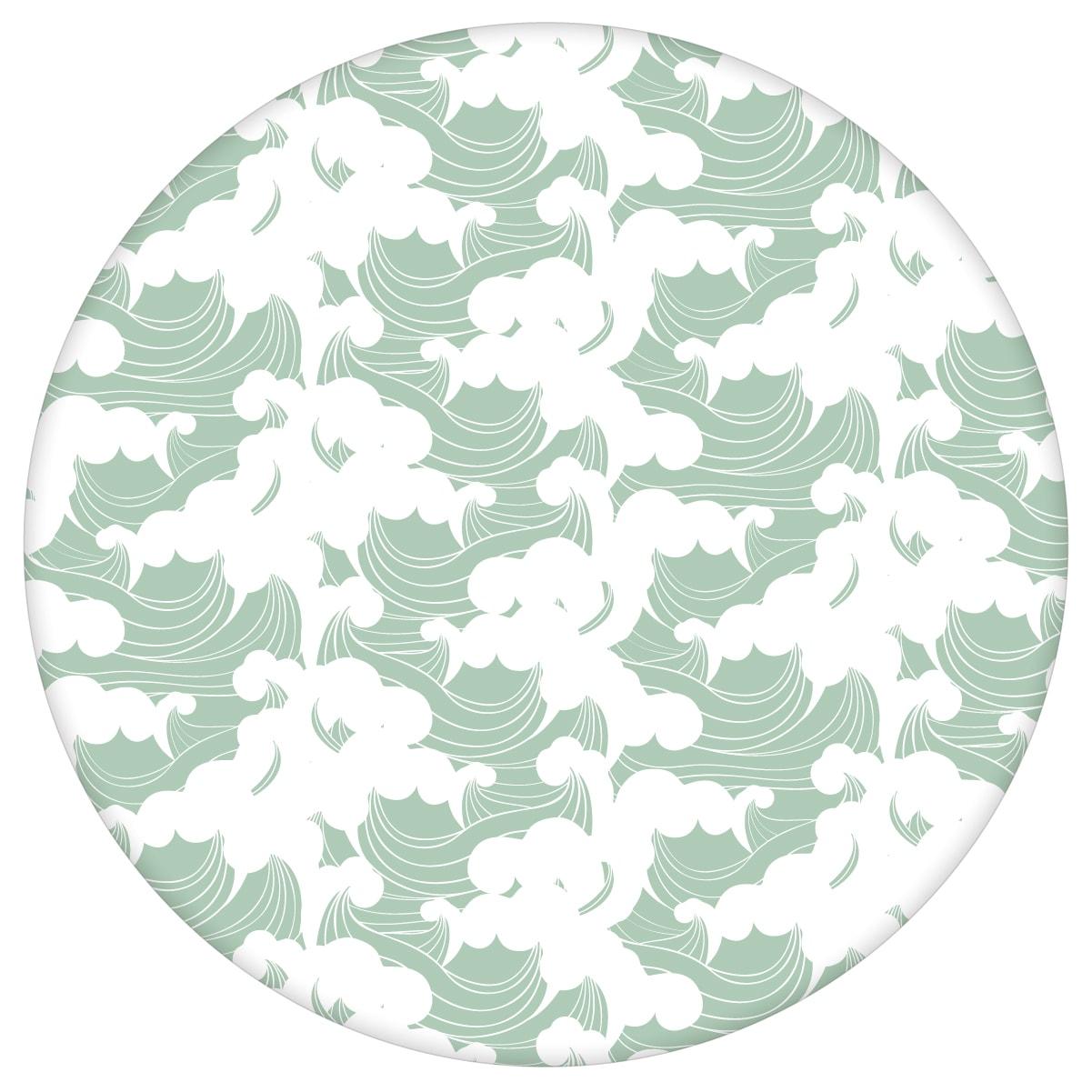 """Maritime Tapete mit Wellen  """"Meerschaum"""", mint grüne Vlies-Tapete asiatische Wanddeko für Schlafzimmeraus dem GMM-BERLIN.com Sortiment: grüne Tapete zur Raumgestaltung: #00139 #Asien #grafisch #Grafische Tapete #Grüne Tapete #maritim #Meer #mint #schlafzimmer #Wellen für individuelles Interiordesign"""