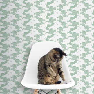 """Schlafzimmer tapezieren in grün: Maritime Tapete mit Wellen  """"Meerschaum"""", mint grüne Vlies-Tapete asiatische Wanddeko für Schlafzimmer"""