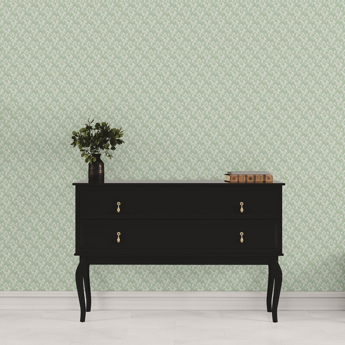 """Tapete für Büroräume grün: Blüten Dolden Tapete """"Sensaina"""", grüne Vlies Tapete Blumen, delikate, leichte Blumentapete für Flur, Büro"""
