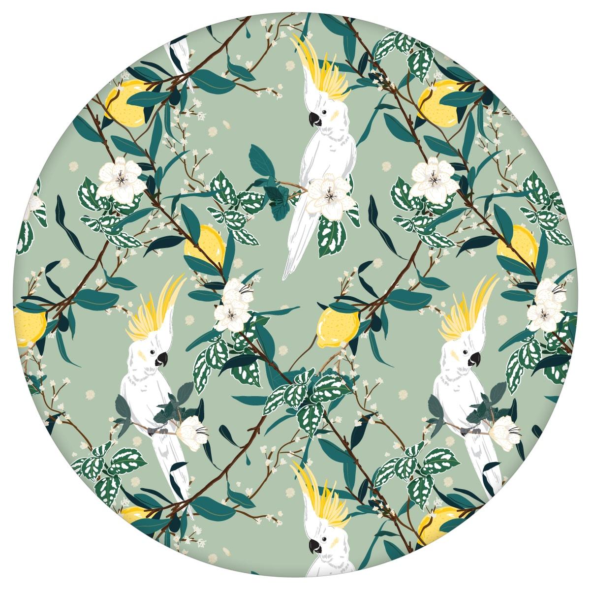 """Exotische """"Tropical Summer"""" Tapete mit Zitronen & Kakadus, mint grüne Vlies-Tapete Blumen Tiere, schöne Wanddeko für Schlafzimmer"""