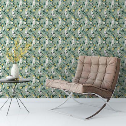 grün: Multicolor Zickzack Streifentapete passend zu Ikea - Exklusive Tapeten für schönes Wohnen aus der Serie Streifentapeten für schönes Wohnen der Gräflich Münster'schen Manufaktur