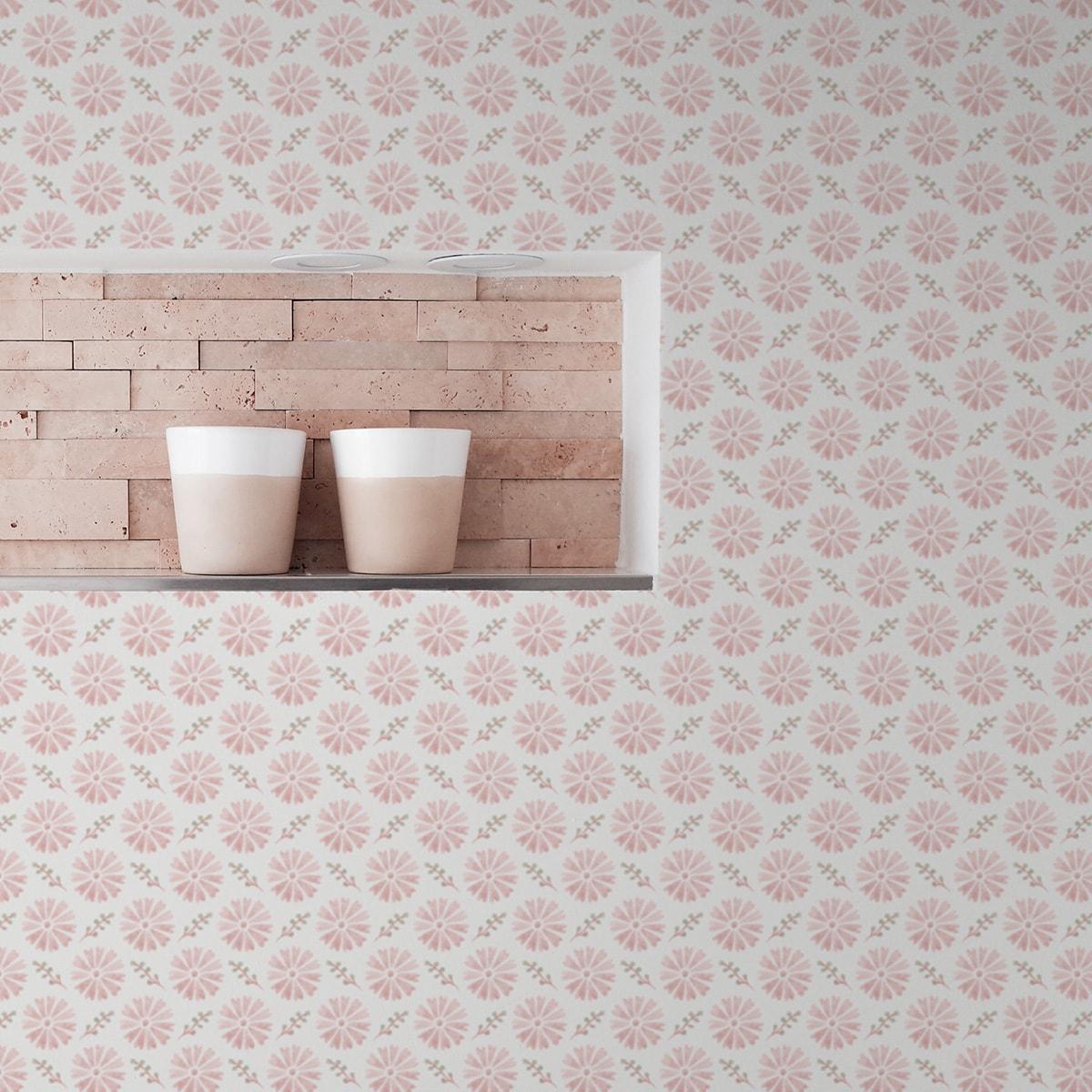 Tapete Wohnzimmer pink: Klassisch rosa Tapete