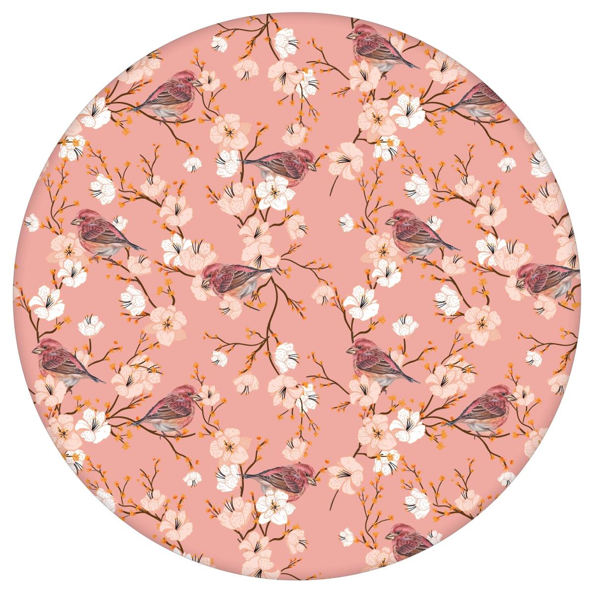 """Frühlings Tapete """"Kirschblüten Spatz"""" mit Vögeln, rosa Vlies Tapete Blumen Tiere, frische Wanddeko für Kücheaus dem GMM-BERLIN.com Sortiment: rosa Tapete zur Raumgestaltung: #blueten #blumen #Blumentapete #fruehling #Kirschblüte #kueche #rosa #Spatz #voegel für individuelles Interiordesign"""