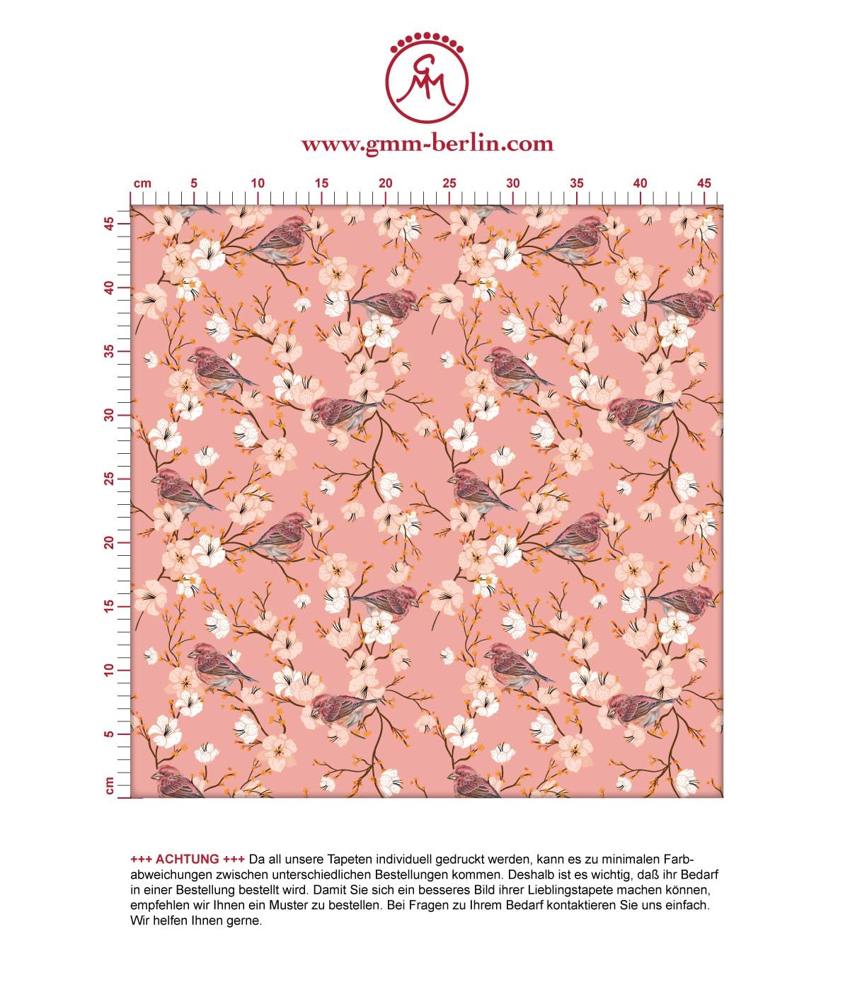 """Frühlings Tapete """"Kirschblüten Spatz"""" mit Vögeln, rosa Vlies Tapete Blumen Tiere, frische Wanddeko für Küche. Aus dem GMM-BERLIN.com Sortiment: Schöne Tapeten in der Farbe: Pink"""