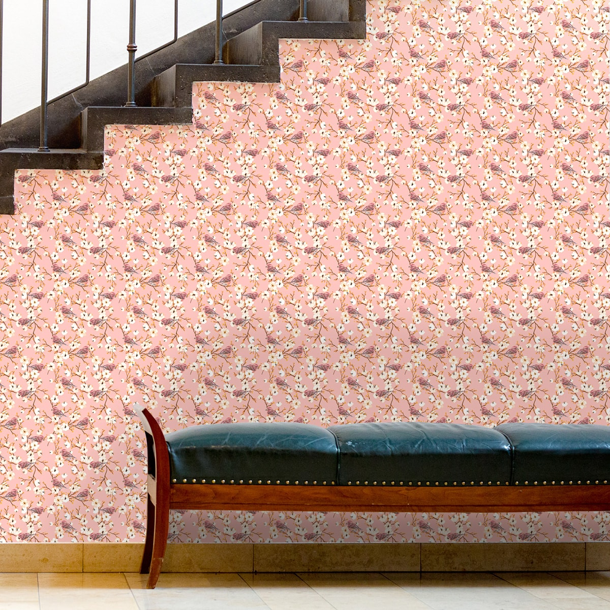 """Küchentapete pink: Frühlings Tapete """"Kirschblüten Spatz"""" mit Vögeln, rosa Vlies Tapete Blumen Tiere, frische Wanddeko für Küche"""