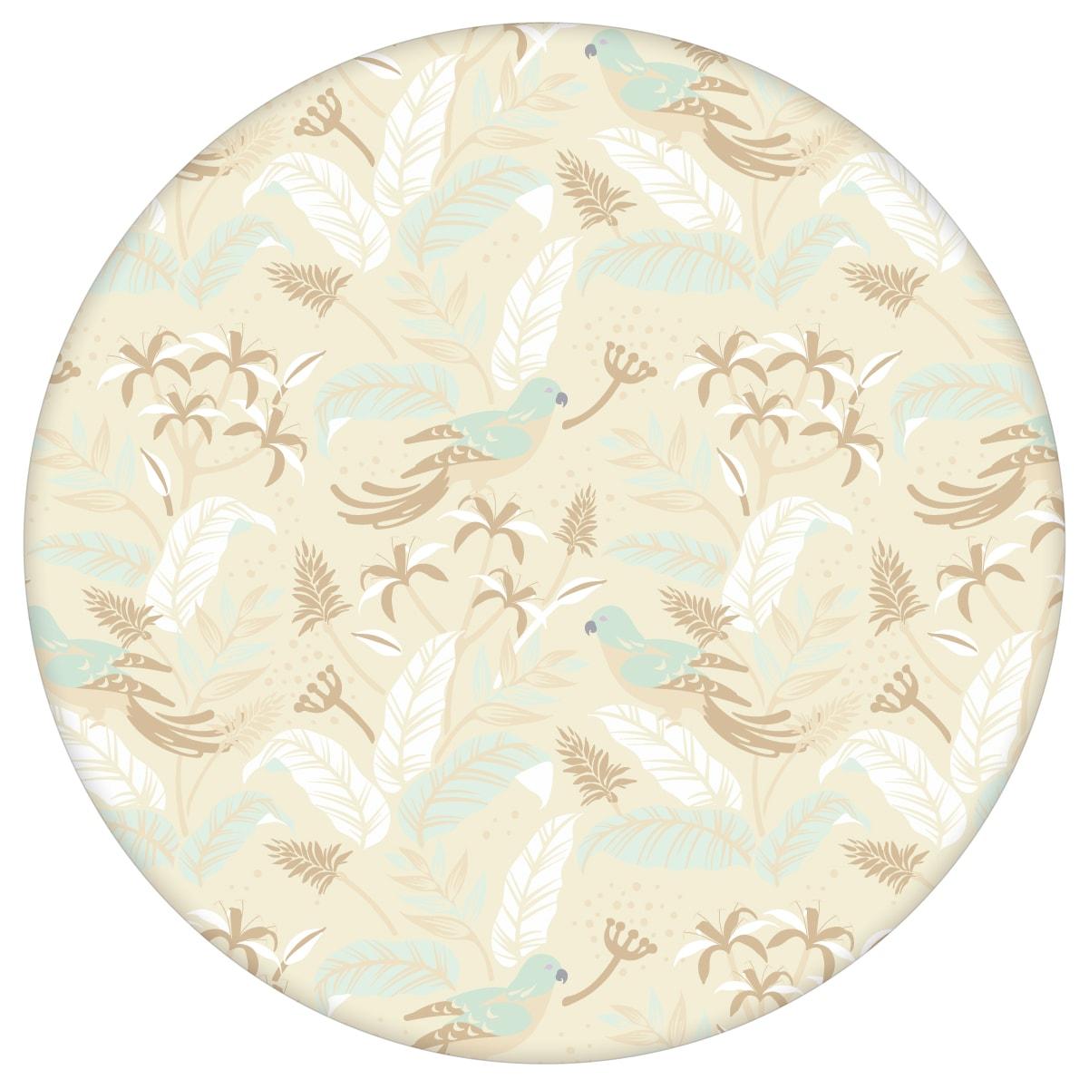 """Dschungel Tapete """"Wild Birds"""" mit tropischen Vögeln, beige Vlies Tapete Wandgestaltung für Küche  3"""