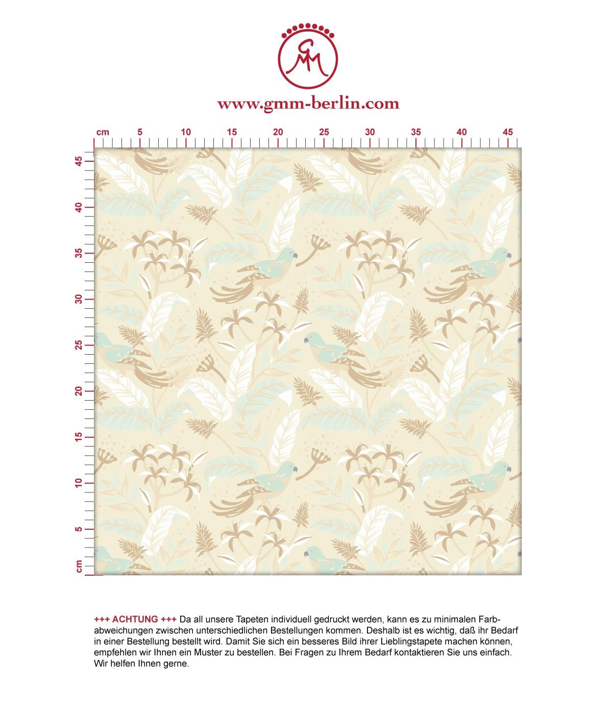 """Dschungel Tapete """"Wild Birds"""" mit tropischen Vögeln, beige Vlies Tapete Wandgestaltung für Küche  2"""