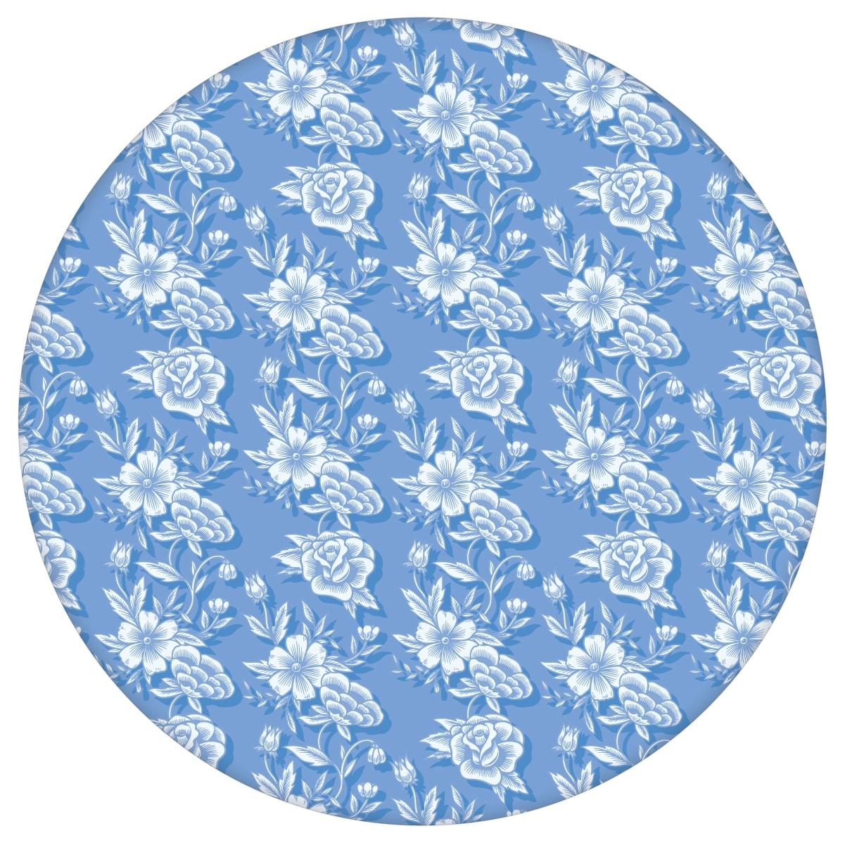 """""""Les fleurs du chateau"""" Klassische Blümchen Tapete, blau Vlies-Tapete für Schlafzimmer aus den Tapeten Neuheiten Blumentapeten und Borten als Naturaltouch Luxus Vliestapete oder Basic Vliestapete"""